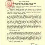 Thư chúc mừng của Phó Chủ tịch nước Nguyễn Thị Doan gửi toàn thể CBNV và người lao động Tổng công ty Khoáng sản – TKV nhân kỷ niệm 20 năm ngày thành lập